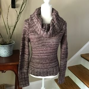 New Loft Purple Marbled  Chunky Cowl Neck Sweater